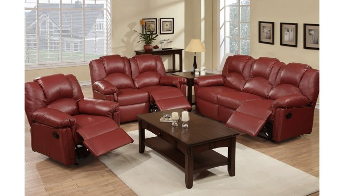 Reed Burgundy Leather Recliner So