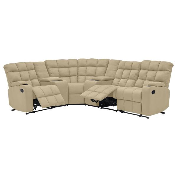 ProLounger 6-Piece Mocha Microfiber Curved Power Reclining .