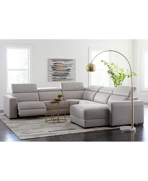 Furniture Nevio Leather Power Reclining Sectional Sofa with .