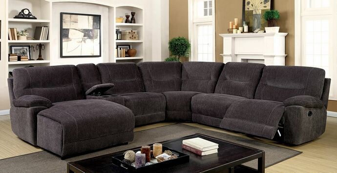 CM6853 6 pc Zuben gray chenille fabric sectional sofa with .