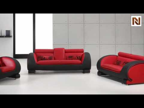 Red & Black Bonded Leather Sofa Set VGDM2811RB-BL - YouTu
