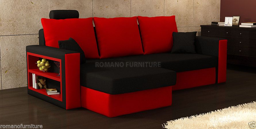 "RED/BLACK Corner Sofa Bed ""Olivia"" 
