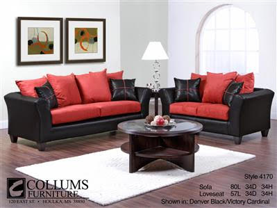 Sofa & Love Seat - Black/Red - E & S Mattre