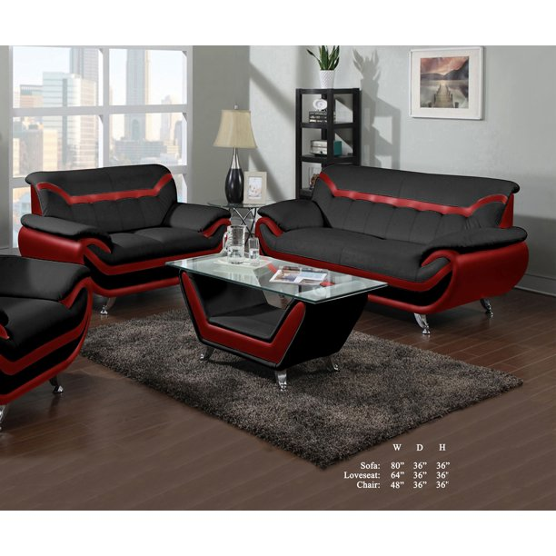 Beautiful Lovely Comfort Classic Red Black Bonded Leather Sofa .