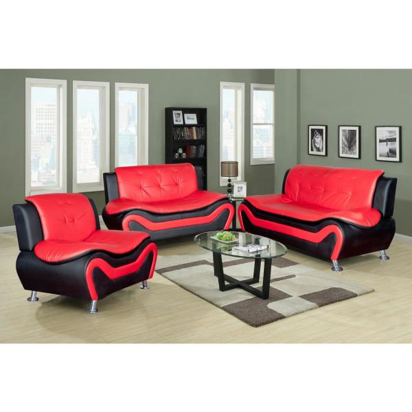 Star Home Living Red and Black Leather Three Piece Sofa Set-SH4503 .