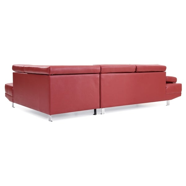 Shop LYKE Home Kori Red Faux Leather Sectional - Free Shipping .