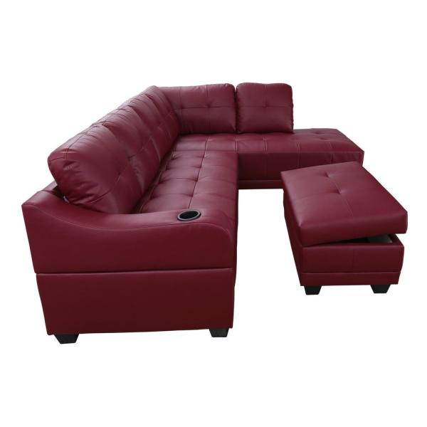 Star Home Living Bill 3-Piece Red Faux Leather 3-Seater L-Shaped .