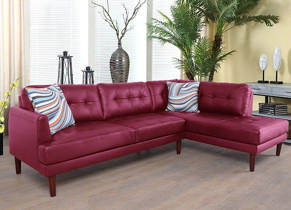 F6006B 2 pc Lifestyle red faux leather sectional sofa with chaise .