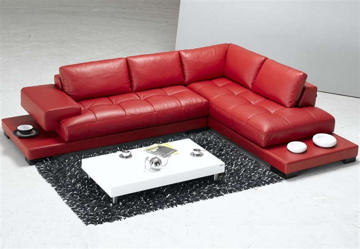 Modern Red Leather Sectional Sofa TOS-FY633