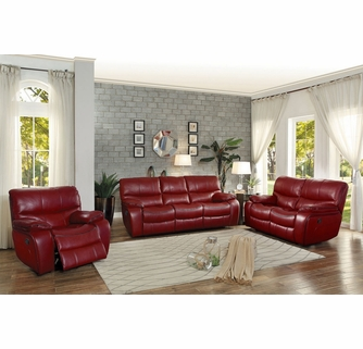 Pecos Red Leather Gel Match Power Recliner Loveseat by Homelegan