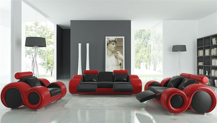 Modern Black and Red Leather Sofa Set TOS-LF-8804-BLACKRED-LTH