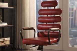 Calan Vintage Red Leather Executive Office Chair - 1StopBedroom
