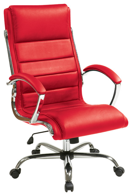 Executive Chair, Faux Leather Seat, Built-In Lumbar Support .