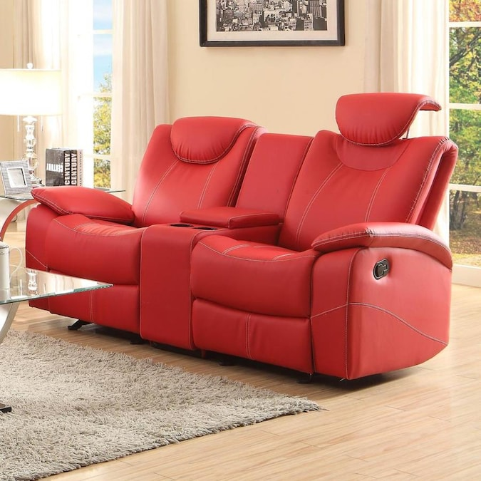 Homelegance Talbot Casual Red Faux Leather Reclining Sofa in the .