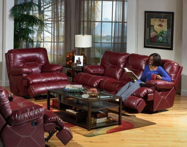 Furniture Cincinnati Living Romm | Red leather loveseat, Red .