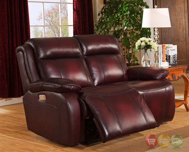 Faraday Genuine Leather Power Recline Loveseat In Deep Red, Power .