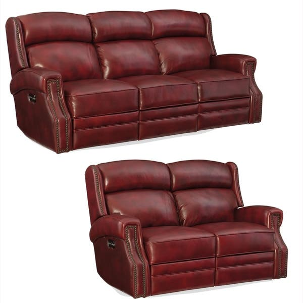 Shop Jesper Red Top Grain Leather Power Reclining Sofa and .