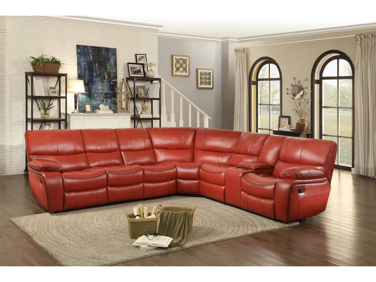 Pecos Red Leather Sectional 8480RED by Homelegan