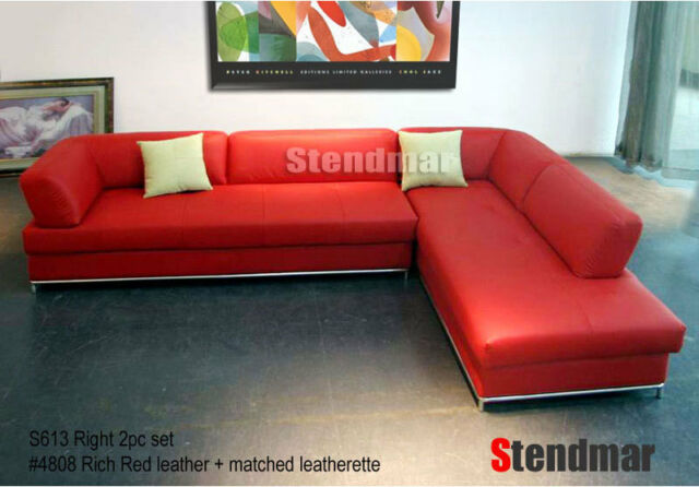 2-Piece Modern Red Leather Sectional Sofa Set for sale online | eB