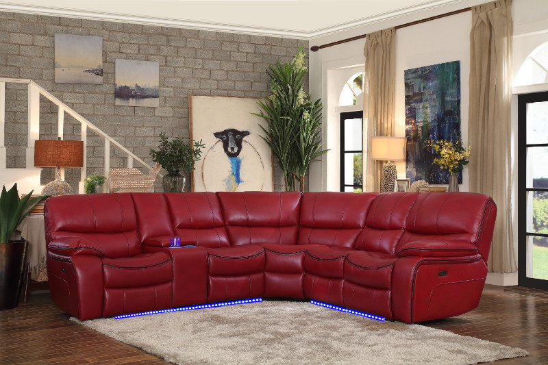 HE-8480RED-3SCPD 3 pc pecos red leather gel match sectional sofa .