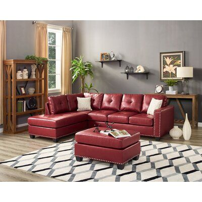 Winston Porter Burdett Modern Reversible Sectional with Ottoman .