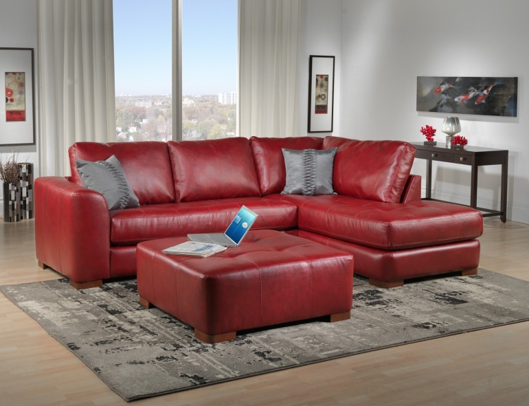 Furniture: Modern Red Leather Sectional Sofa For Modern Living .