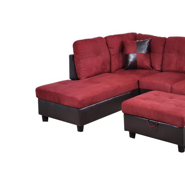 Star Home Living Red Microfiber and Faux Leather Left Chaise .