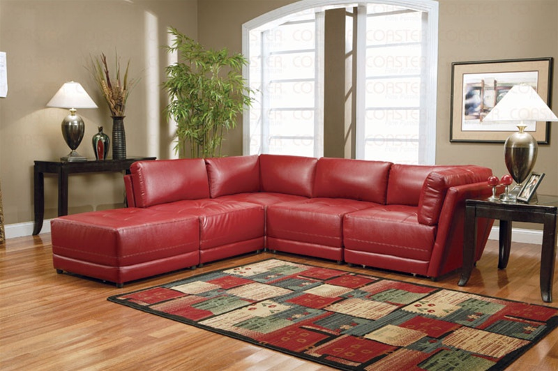 Red Bonded Leather Sectional Set | Sectiona