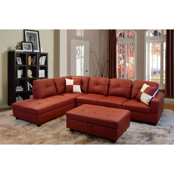 Star Home Living Red Faux Leather 3-Seater Left-Facing Chaise .