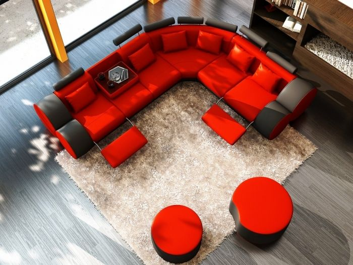 Airy Red and Black Ottoman Living Room | Red leather sofa .