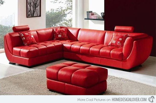 15 Bold and Red Sofa Designs | Home Design Lover | Red leather .
