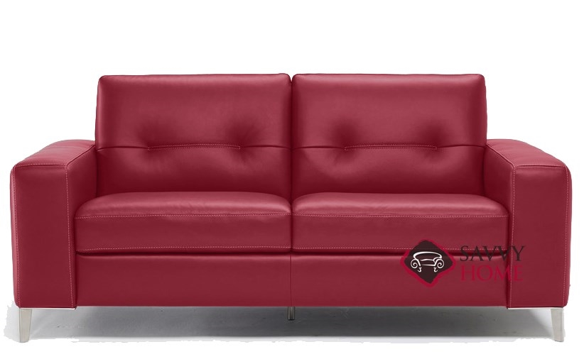 Quick-Ship Po (B883) Leather Sleeper Sofas Full in Denver Red by .