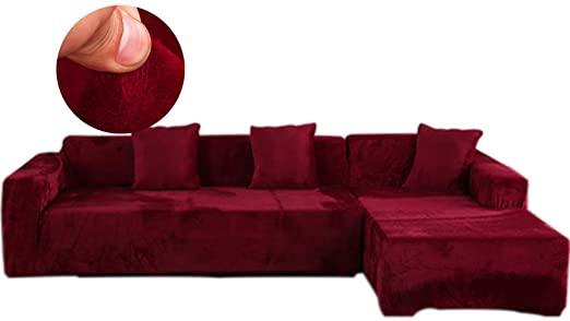 Amazon.com: Obokidly Anti-Wrinkle Velvet Sectional Sofa Slipcover .
