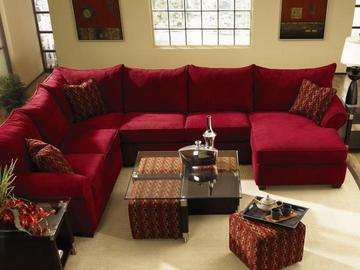 Fletcher Red Sectional Sofa by Klaussner | Red sectional sofa, Red .