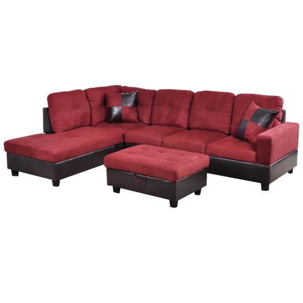 Star Home Living Cherry Red Microfiber 3-Seater Left-Facing Chaise .
