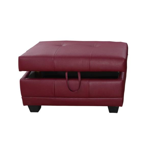 Star Home Living Bill Red Right Facing Sectional Sofa with Ottoman .