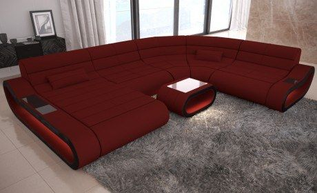 Modern Sectional Sofa Concept ottoman - dark red Fabric Mineva 10 .