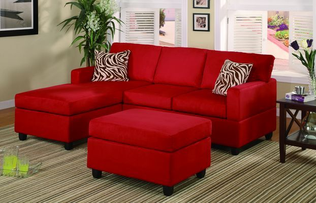Pin by Ashley Rich on New Place | Red sectional sofa, Microfiber .