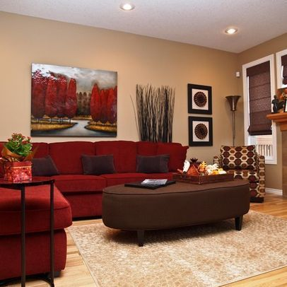 50 Beautiful Living Rooms with Ottoman Coffee Tables | Red couch .