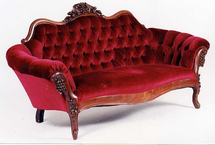 burgundy velvet upholstery   Red velvet sofa, Victorian sofa .