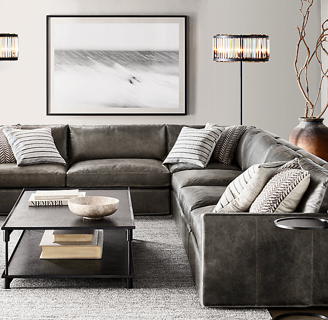Restoration Hardware Belgian Track Arm Modular Leather U-Sofa .