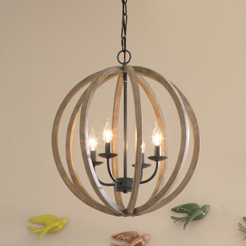 Ricciardo 4 - Light Candle Style Globe Chandelier with Wrought .