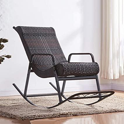 Amazon.com: DNNAL Lounge Chair, Wicker Rocking Chair Balcony Sofa .