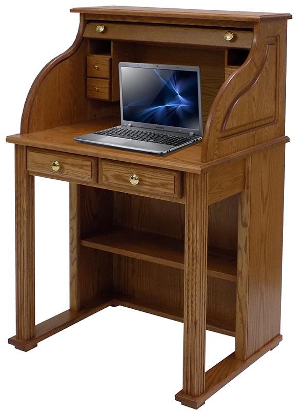 """29""""W Solid Oak Roll Top Vintage Laptop Desk - Made in U"""