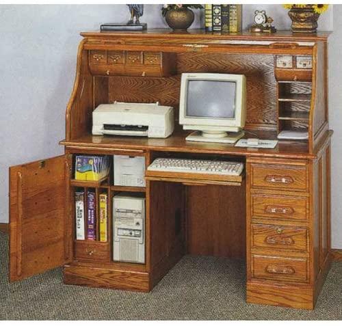 Amazon.com: AMB Furniture Deluxe Oak roll top Computer Desk .