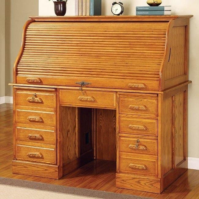 Palmetto Roll Top Computer Desk (Oak) Coaster Furniture .