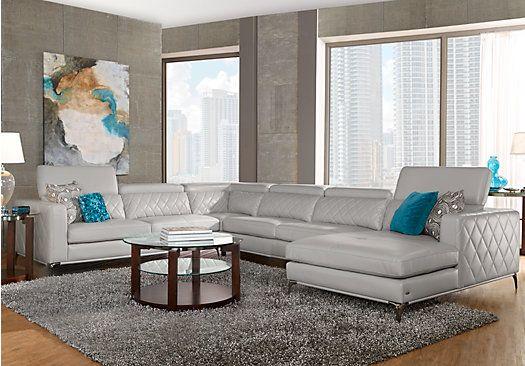 Sofia Vergara Sorrento Platinum Left 5 Pc Sectional Living Room .