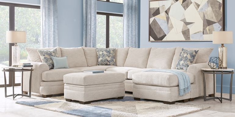 Beige Sectional Living Room Sets - Fabric, Microfib