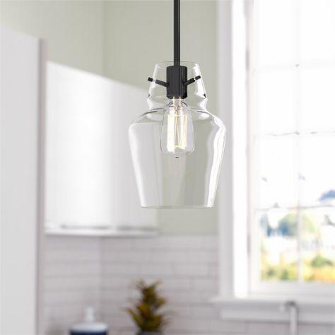 Roslindale 1-Light Single Bell Pendant | Glass pendant light, Mini .