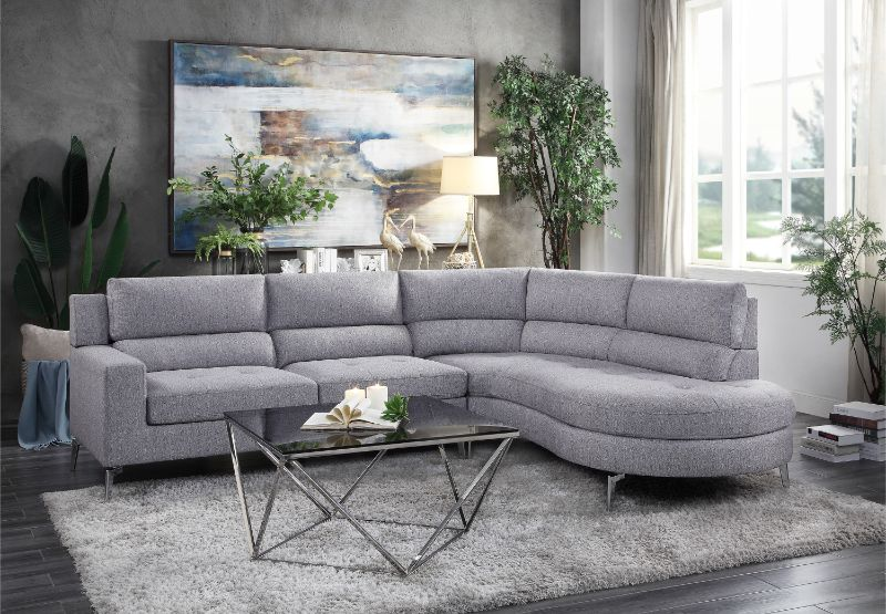 HE-9879GY-2PC 2 pc Bonita gray fabric sectional sofa set rounded .